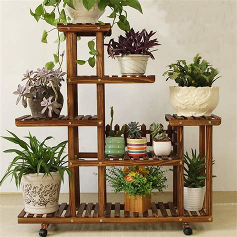 pine wooden plant stand indoor outdoor garden planter