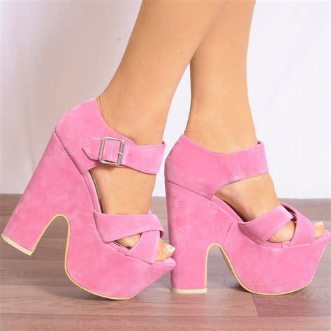 Wedges Pink pink chunky peep toe platform wedges high heels