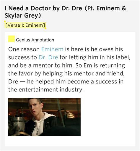 eminem i need a doctor lyric verse 1 eminem i need a doctor by dr dre