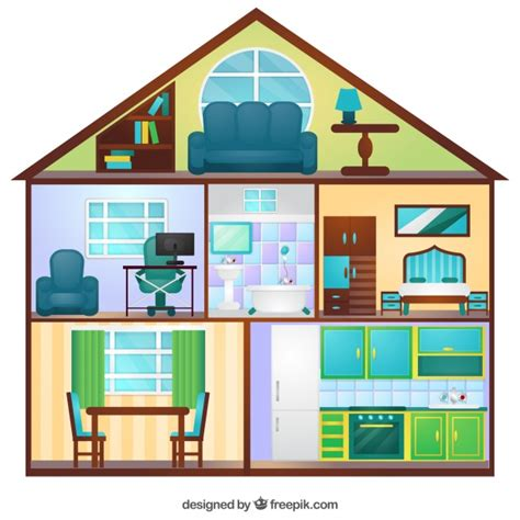 house with rooms view of flat house with six rooms vector free download