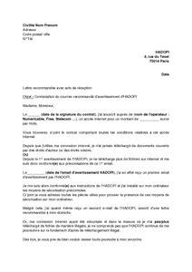 Lettre de contestation de la lettre recommandée de l