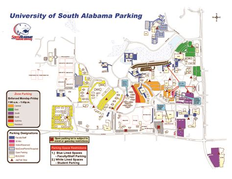 south college map parking map
