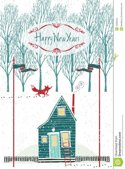 home design for new year happy new year design card with a house in the winter