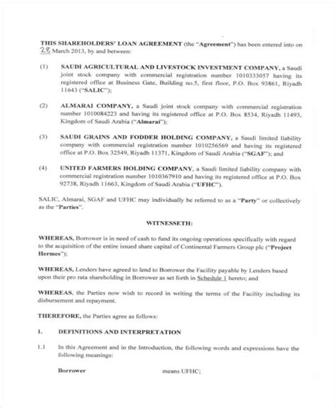 shareholder loan agreement template loan agreement form exle 65 free documents in word pdf