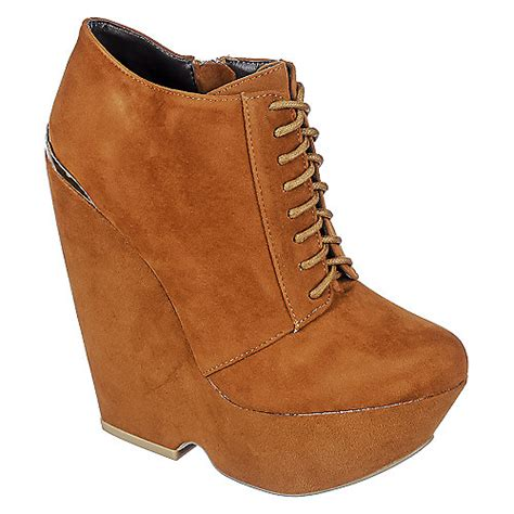 bamboo chniks lace up bootie s brown wedge shiekh