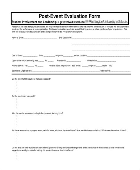Sle Event Evaluation Forms 13 Free Documents In Pdf Doc Post Event Survey Template