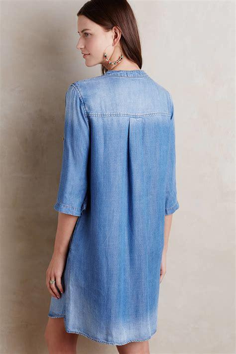 Washed Denim Dress lyst cloth xander washed denim lace up dress in blue
