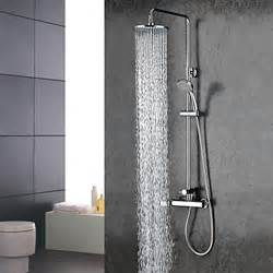chrome finish widespread two handles rainfall shower