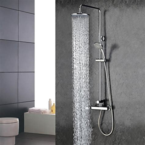 Shower Plumbing Fixtures by Chrome Finish Widespread Two Handles Rainfall Shower