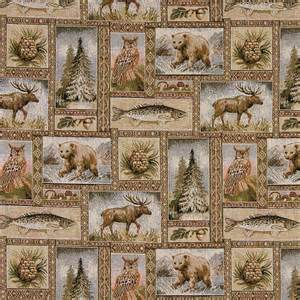Lodge Style Upholstery Fabric by Bears Moose Trees Acorns Fish Theme Tapestry Upholstery