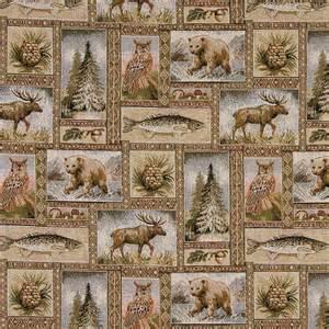 bears moose trees acorns fish theme tapestry upholstery