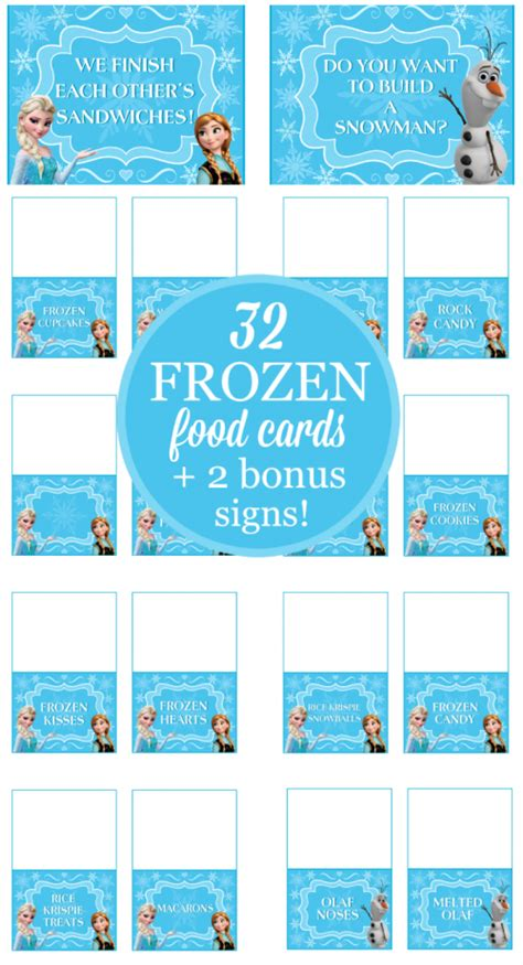 frozen party food cards bonus signs printable party