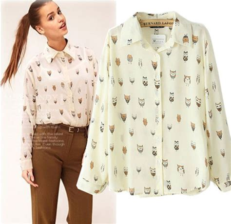 Owl Blouse Tunik Wolfish Printing 2014 new arrival womens animal birds owl print blouse