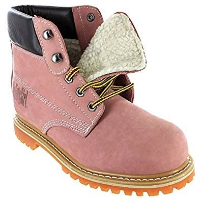 sheepskin lined womens work boots pink steel toe