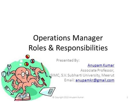 responsibilities of operations manager authorstream