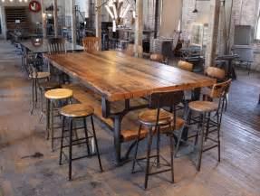 Vintage industrial cast iron leg amp reclaimed wood plank