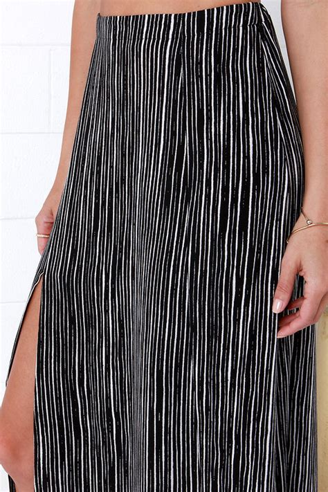 chic black and white striped skirt maxi skirt striped