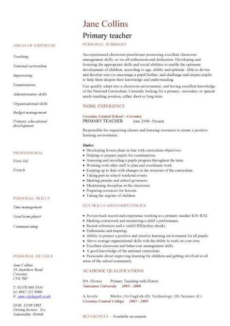Teaching CV template, job description, teachers at school