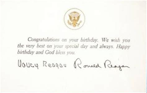 nancy reagan signature ronald and nancy reagan signed birthday wishes current