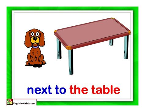 what is the table called that goes behind a couch flashcards prepositions