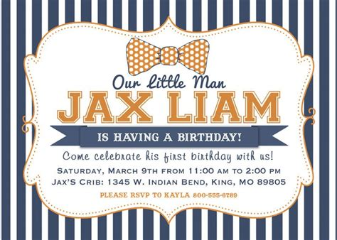 Orange And Navy Birthday Party Invitation Digital File | little man bow tie orange and navy birthday party