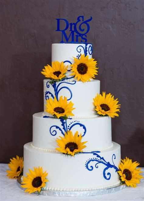 White and Blue Wedding Cake with Sunflowers and Custom