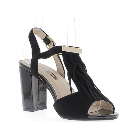 Heels 10cm varnished black sandals and 10cm thick heeled suede