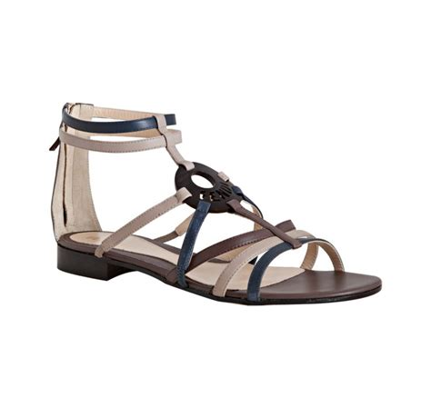 brown strappy flat sandals fendi brown strappy leather logo detail flat sandals in