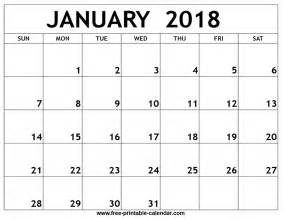 Calendar Printable January 2018 January 2018 Printable Calendar
