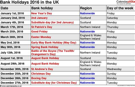 easter 2016 calendar with holidays uk bank holidays 2016 in the uk