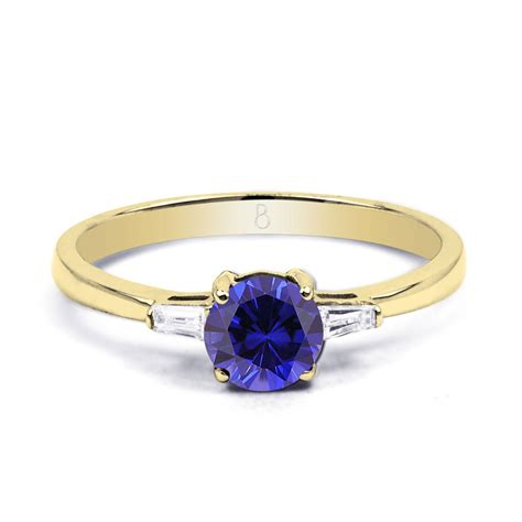 18k yellow gold blue sapphire engagement