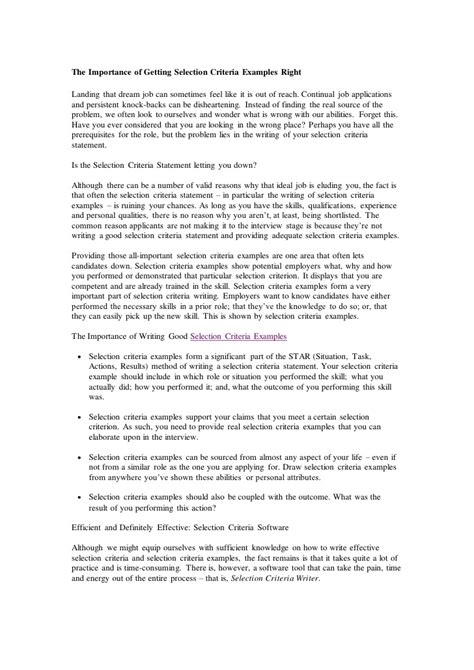 Cover Letter Essential Criteria by Exle Cover Letter Selection Criteria Eursto