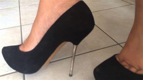 Helss 14cm black suede metal spike heels