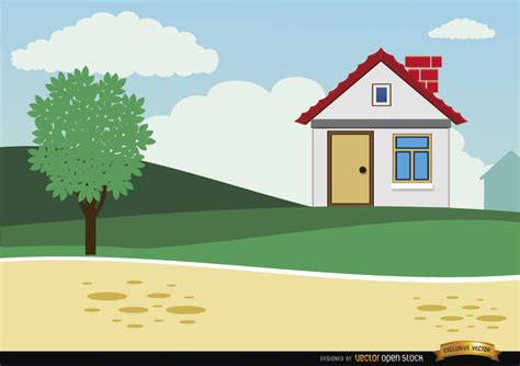 tiny house cartoon small country cartoon house background free vector