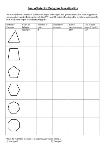 sum and interior angles worksheet by amylob teaching