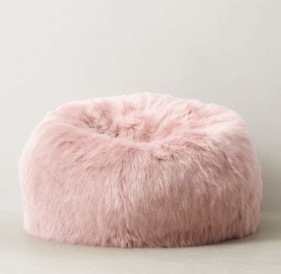 blush pink fur chair kashmir faux fur bean bag dusty restoration