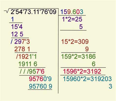 como se hace raiz cuadrada ra 237 z cuadrada de n 250 meros con decimales