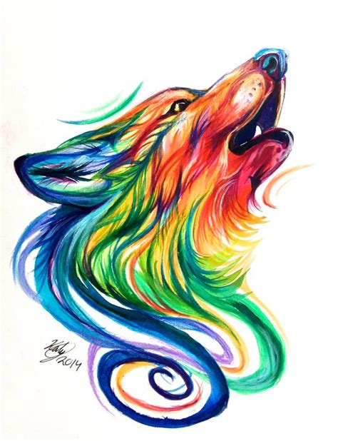 rainbow wolf design by lucky978 on deviantart