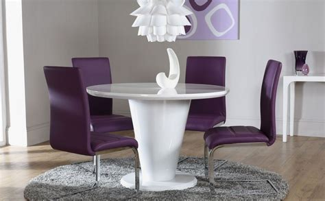 White Dining Chairs Perth White High Gloss Dining Table And 4 Chairs Set Perth Purple Dining Tables