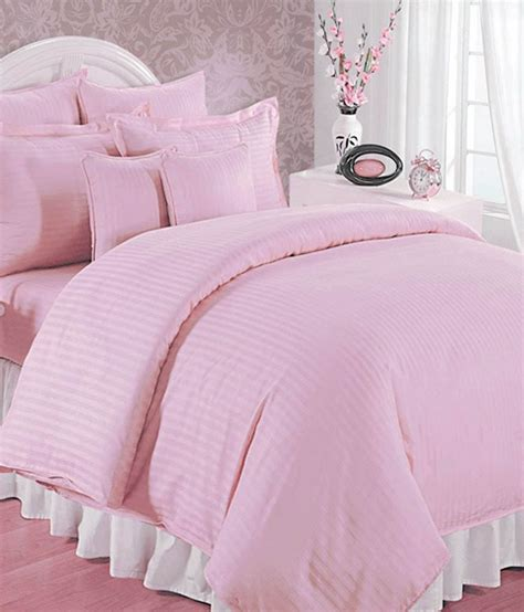 Bombay Dyeing Satin Strip Cotton Double Bedsheet With Two Pink Bed Sheets