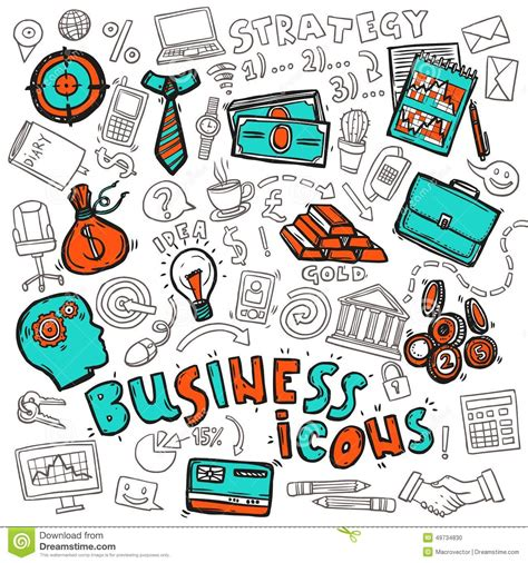 how to create money in doodle business icons doodle sketch stock vector image 49734830