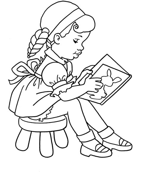 coloring page of school girl coloring girl studying child coloring