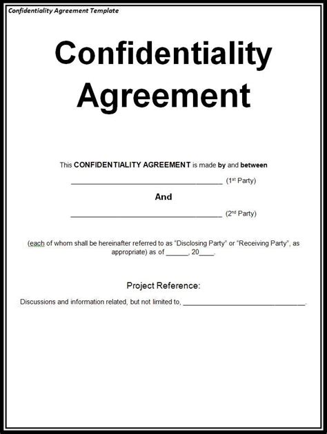 Free Confidentiality Agreement Template Confidentiality Agreement Template Free Word Templates