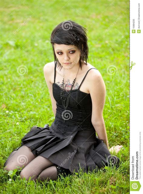 Gothic Architecture Floor Plan girl in gothic style on grass royalty free stock photo