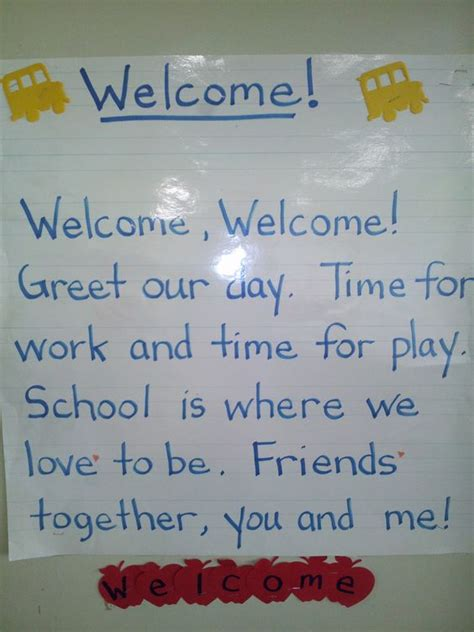 s day beginning song welcome poem for beginning of school to use at