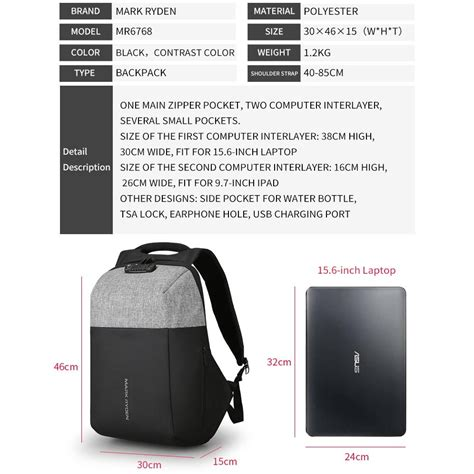 Price Tas Ransel Usb Port Anti Maling Tas Laptop Tas Anti Air ryden tas ransel anti maling dengan usb charger port mr6768 gray black