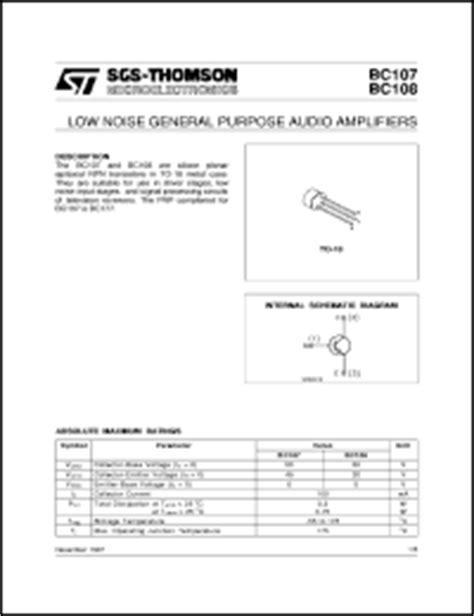 datasheet of transistor bc107 sgs thomson microelectronics bc107 series datasheets bc109b bc107b bc109c bc108a bc108c