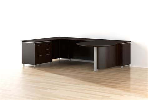 executive black wood p top desk ambience dor 233