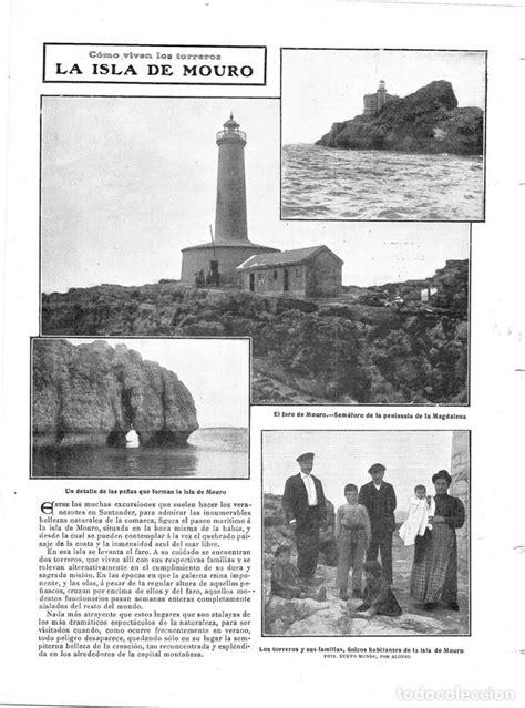 1909 hoja revista santander isla de mouro faro - Comprar
