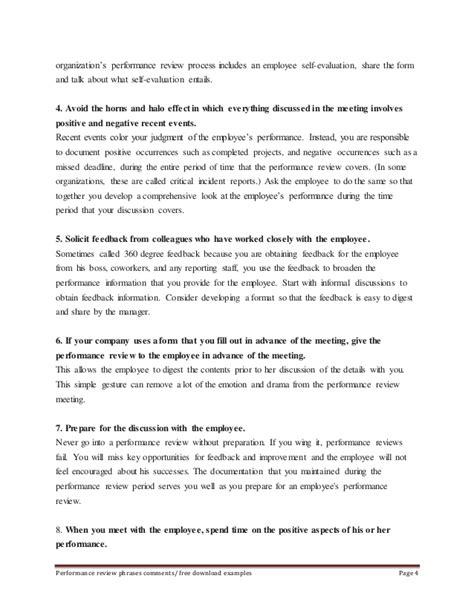 Sle Employee Performance Review Phrases Self Evaluation Template For Performance Review